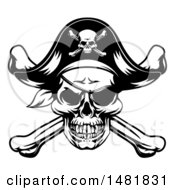 Clipart Of A Black And White Oirate Skull And Crossbones Jolly Roger Royalty Free Vector Illustration by AtStockIllustration