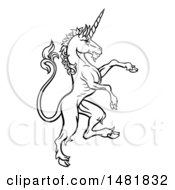 Clipart Of A Black And White Heraldic Rampant Unicorn In Profile Royalty Free Vector Illustration