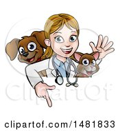 Clipart Of A White Female Veterinarian Waving With A Cat And Dog Over A Sign Royalty Free Vector Illustration