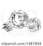 Clipart Of A Black And White Mad Grizzly Bear Mascot Breaking Through A Wall And Holding A Video Game Controller Royalty Free Vector Illustration