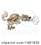 Clipart Of A Big Bad Wolf Blowing Royalty Free Vector Illustration by AtStockIllustration