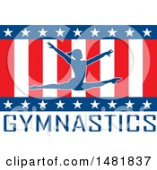 Clipart Of A Silhouettd Female Gymnast Leaping Over American Stars And Stripes And Text Royalty Free Vector Illustration by Johnny Sajem