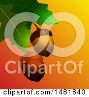 Clipart Of 3d Acorns And Oak Leaves Royalty Free Vector Illustration by elaineitalia