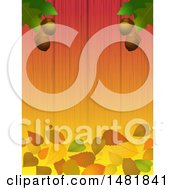 Background Of Oak Leaves And Acorns Over Fallen Leaves On Wood