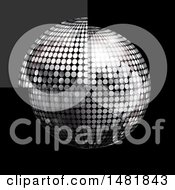 3d Glass Tile Over A Silver Disco Ball On Black