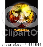 Clipart Of A Jackolantern Face Disco Ball Over Halloween Text On Black Royalty Free Vector Illustration