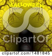 Clipart Of A Dark Tombstone With Bare Tree Branches On Yellow With Halloween Text Royalty Free Vector Illustration