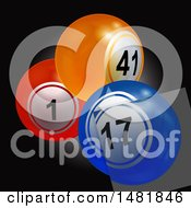 Clipart Of A 3d Glass Tile Over Bingo Or Lottery Balls On Black Royalty Free Vector Illustration