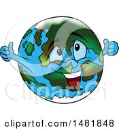 Clipart Of A Cartoon Earth Globe Mascot Giving Two Thumbs Up Royalty Free Vector Illustration by dero