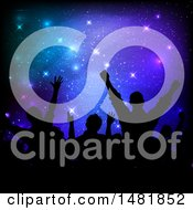 Clipart Of A Silhouetted Concert Audience Over Stars Royalty Free Vector Illustration by KJ Pargeter