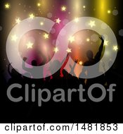 Clipart Of A Silhouetted Concert Audience And Stars Royalty Free Vector Illustration