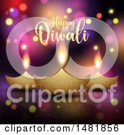 Clipart Of A Happy Diwali Greeting With Oil Lamps Royalty Free Vector Illustration