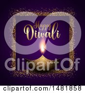 Clipart Of A Happy Diwali Greeting With A Lamp Royalty Free Vector Illustration
