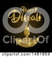 Clipart Of A Happy Diwali Greeting With A Golden Glittery Lamp Royalty Free Vector Illustration