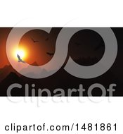 3d Dark Orange Sunset With Birds Flying Over Mountains