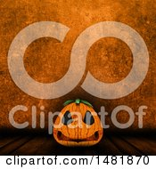 3d Halloween Jackolantern Pumpkin Over A Grungy Orange Wall