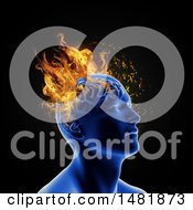 Poster, Art Print Of 3d Person With Flames On Their Head Mental Health Issues