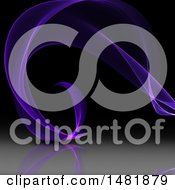 Clipart Of A Purple Flowing Wave On A Dark Background Royalty Free Illustration
