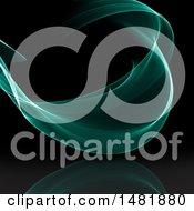 Clipart Of A Green Flowing Wave On A Dark Background Royalty Free Illustration by KJ Pargeter