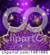 Clipart Of A Purple And Gold Mandala Over Flares Royalty Free Vector Illustration by KJ Pargeter