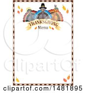 Clipart Of Pilgrim Turkeys With Thanksgiving Menu Text And Border Royalty Free Vector Illustration