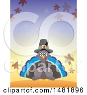 Clipart Of A Thanksgiving Pilgrim Turkey Bird With Autumn Leaves Royalty Free Vector Illustration by visekart