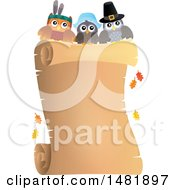 Clipart Of Thanksgiving Owls Over A Scroll Royalty Free Vector Illustration
