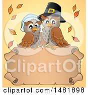 Clipart Of A Thanksgiving Pilgrim Owl Couple Over A Blank Banner Royalty Free Vector Illustration