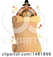 Clipart Of A Parchment Scroll With A Pilgrim Turkey Royalty Free Vector Illustration