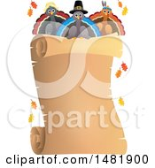 Clipart Of A Scroll With Thanksgiving Turkey Birds Royalty Free Vector Illustration by visekart
