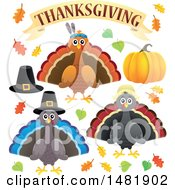 Clipart Of A Group Of Thanksgiving Native And Pilgrim Turkey Birds Royalty Free Vector Illustration