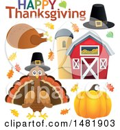 Happy Thanksgiving Greeting With A Pilgrim Hat Roasted Turkey Bird Barn And Pumpkin