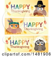 Clipart Of Happy Thanksgiving Turkey Bird Banners Royalty Free Vector Illustration