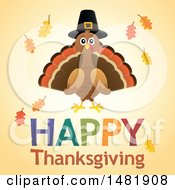Clipart Of A Happy Thanksgiving Greeting With A Pilgrim Turkey Royalty Free Vector Illustration