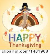 Happy Thanksgiving Greeting With A Pilgrim Turkey