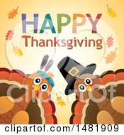 Clipart Of A Happy Thanksgiving Greeting With A Native American And Pilgrim Turkey Royalty Free Vector Illustration