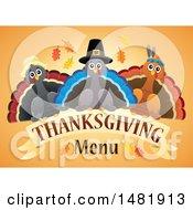 Pilgrim Turkeys With Thanksgiving Menu Text