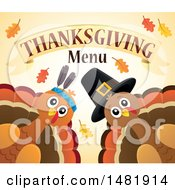 Pilgrim And Native American Turkeys With Thanksgiving Menu Text