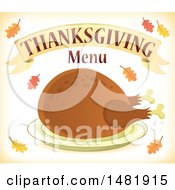 Roasted Turkey With Thanksgiving Menu Text