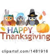 Clipart Of A Thanksgiving Owls Over Text Royalty Free Vector Illustration