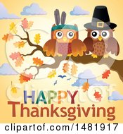 Clipart Of A Thanksgiving Owls On A Branch Over Text Royalty Free Vector Illustration