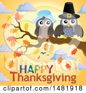 Clipart Of A Pilgrim Owl Couple On A Fall Tree Branch Over Happy Thanksgiving Text Royalty Free Vector Illustration