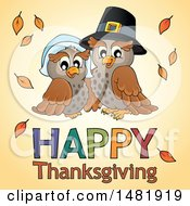 Clipart Of A Pilgrim Owl Couple Over Happy Thanksgiving Text Royalty Free Vector Illustration