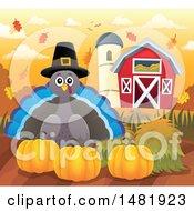 Thanksgiving Pilgrim Turkey Bird With Pumpkins On A Farm