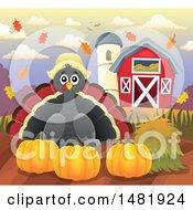 Female Thanksgiving Pilgrim Turkey Bird With Pumpkins Near A Barn
