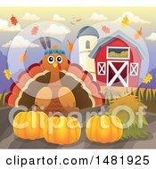 Thanksgiving Native Turkey Bird With Pumpkins On A Farm