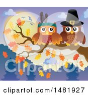 Clipart Of A Thanksgiving Pilgrim And Native American Owl On A Branch Royalty Free Vector Illustration