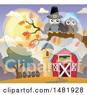 Clipart Of A Thanksgiving Pilgrim Owl Couple On A Fall Tree Branch Near A Barn Royalty Free Vector Illustration
