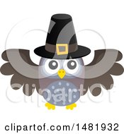 Clipart Of A Thanksgiving Owl Wearing A Pilgrim Hat Royalty Free Vector Illustration