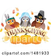 Clipart Of A Group Of Thanksgiving Owls With A Banner And Pumpkins Royalty Free Vector Illustration